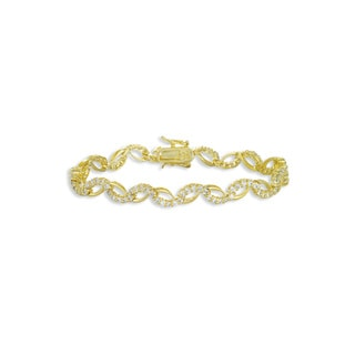 Collette Z Gold Plated and Cubic Zirconia Rope Bracelet