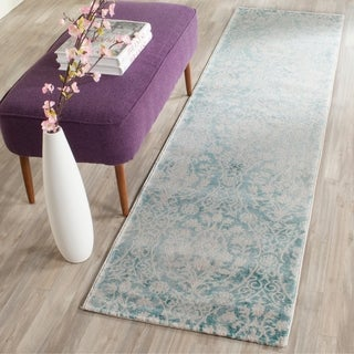 Safavieh Passion Watercolor Vintage Turquoise / Ivory Vintage Watercolor Rug (2'2 x 8')