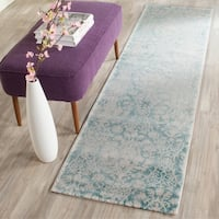 Safavieh Passion Vintage Wash Turquoise/ Ivory Distressed Rug - 2'2 x 8'