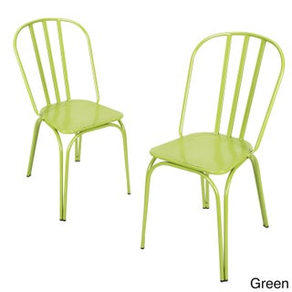 Contemporary Style Metal Stackable Hollow Back Chairs (Set of 2)