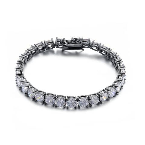 Collette Z Black Plated Sterling Silver Cubic Zirconia Square Stud Bracelet