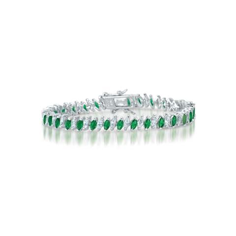 Collette Z Sterling Silver Green Cubic Zirconia Tennis Bracelet