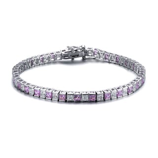 Collette Z Collette Z Sterling Silver Cubic Zirconia and Pink Tennis Bracelet