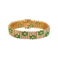 Collette Z Gold Plated and Green Floral Fashion Bracelet