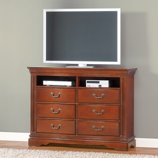 Greenbriar II Media Chest Brown-Cherry 6 Drawer with 2 open shelves