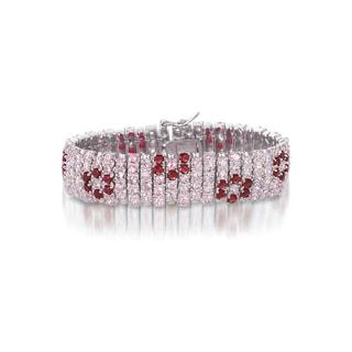 Collette Z Sterling Silver Red Floral Fashion Bracelet