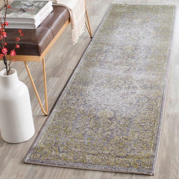 Safavieh Passion Vintage Oriental Grey / Green Distressed Rug (2'2 x 8')