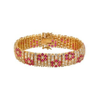 Collette Z Gold Plated and Red Floral Fashion Bracelet