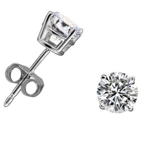 14k Gold 1ct TDW Diamond Round Stud Earrings - White H-I