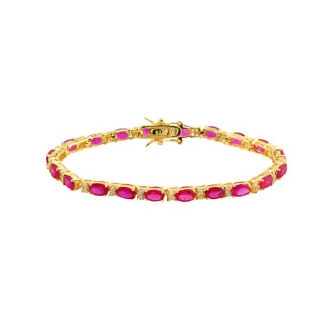 Collette Z Gold Plated Sterling Silver Red Cubic Zirconia Stud Bracelet