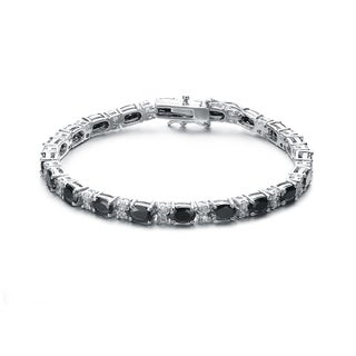 Collette Z Sterling Silver Black and White Cubic Zirconia Bracelet