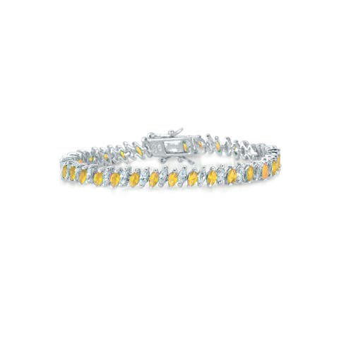 Collette Z Sterling Silver Yellow Cubic Zirconia Tennis Bracelet