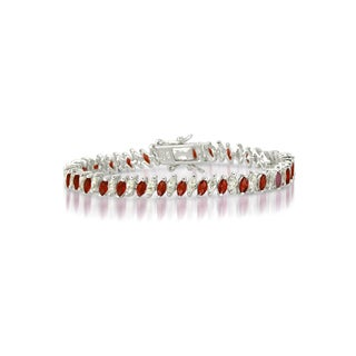 Collette Z Sterling Silver Red Cubic Zirconia Tennis Bracelet