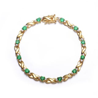 Collette Z Sterling Silver Gold Plated and Green Bracelet