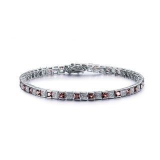 Collette Z Sterling Silver Cubic Zirconia and Smokey Tennis Bracelet
