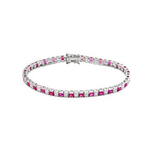 Collette Z Sterling Silver Cubic Zirconia and Red Tennis Bracelet