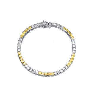 Collette Z Collette Z Sterling Silver Cubic Zirconia and Yellow Tennis Bracelet