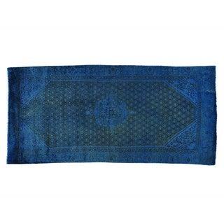 Overdyed Persian Malayer Worn Down Handmade Oriental Rug (4'5 x 9'5)