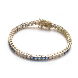 Collette Z Gold Plated Sterling Silver Cubic Zirconia and Blue Tennis Bracelet