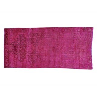Pink Cast Overdyed Persian Hamadan Worn Down Handmade Rug (4'1 x 8'9)