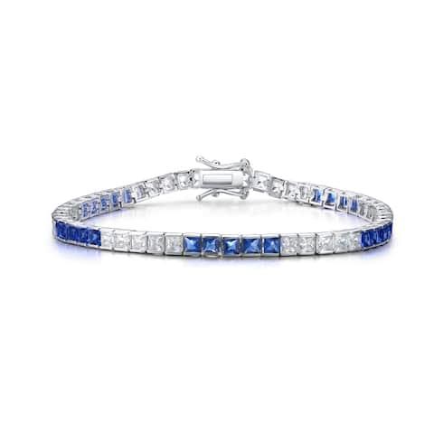 Collette Z Collette Z Sterling Silver Cubic Zirconia and Blue Tennis Bracelet