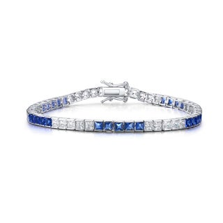 Collette Z Collette Z Sterling Silver Cubic Zirconia and Blue Tennis Bracelet