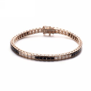 Collette Z Gold Plated Sterling Silver Cubic Zirconia and Black Tennis Bracelet