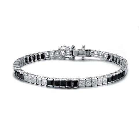 Collette Z C.Z. Sterling Silver Rhodium Plated Onyx 5 x5 Bracelet - Black