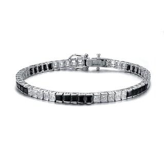 Collette Z C.Z. Sterling Silver Rhodium Plated Onyx 5 x5 Bracelet