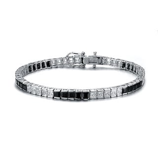 Collette Z C.Z. Sterling Silver Rhodium Plated Onyx 5 x5 Bracelet