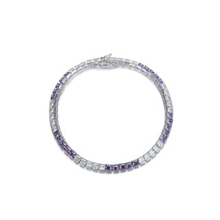 Collette Z Sterling Silver Cubic Zirconia and Purple Tennis Bracelet