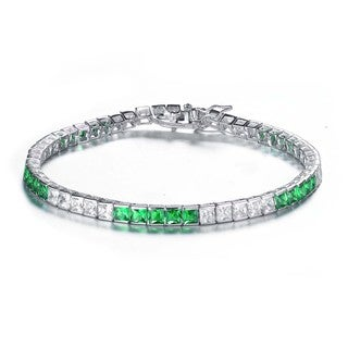 Collette Z Sterling Silver Cubic Zirconia and Green Tennis Bracelet