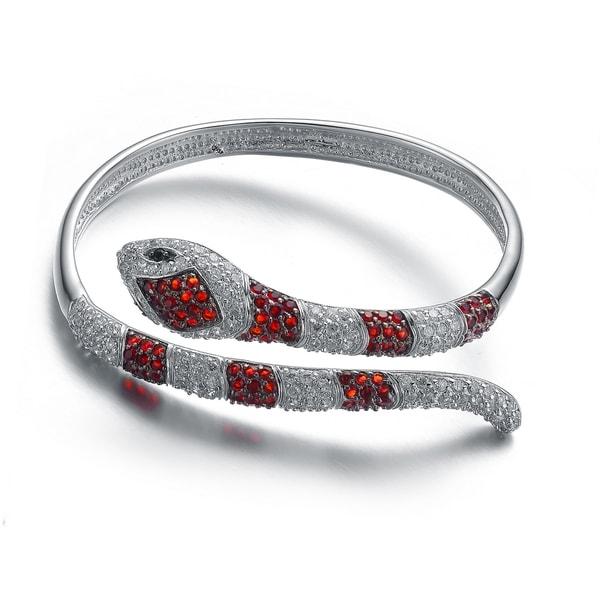 Collette Z Sterling Silver Cubic Zirconia Serpent Bracelet