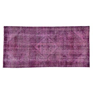 Pink Cast Persian Hamadan Pure Wool Overdyed Handmade Rug (4'7 x 9'8)