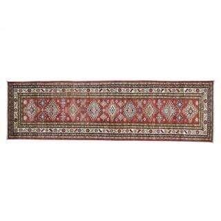Red Tribal Design Handmade Runner Super Kazak Rug (2'9 x 9'5)