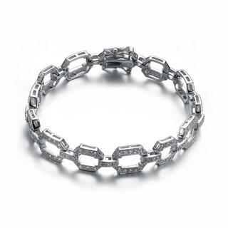 Collette Z Sterling Silver Cubic Zirconia Chain Link Bracelet