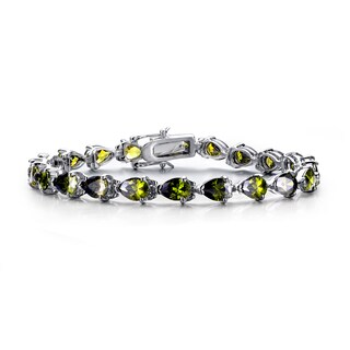 Collette Z Sterling Silver Cubic Zirconia Peridot and Clear Bracelet
