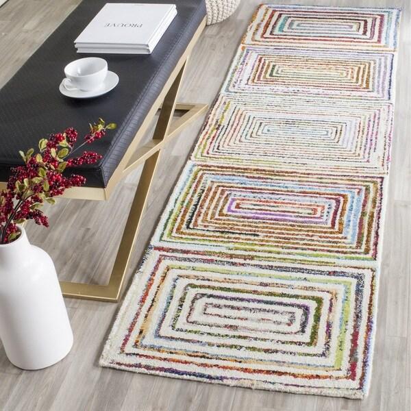 Safavieh Handmade Nantucket Modern Abstract Ivory Cotton Runner Rug (2' 3 x 8')