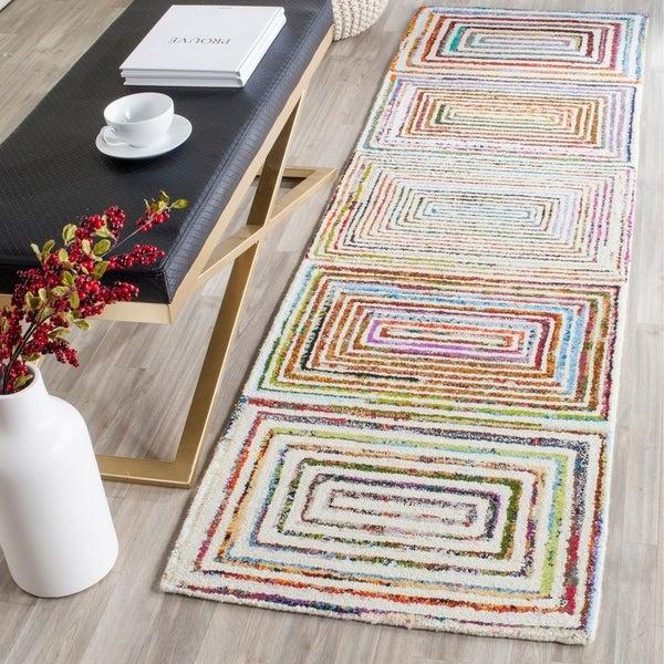 Safavieh Handmade Nantucket Modern Abstract Ivory Cotton Runner Rug - 2' 3 x 8'