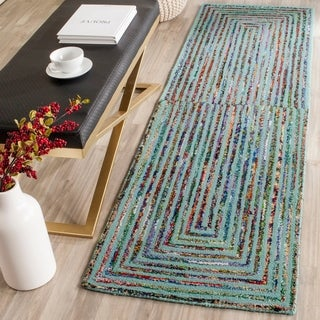 Safavieh Handmade Nantucket Teal Cotton Rug (2'3 x 8')