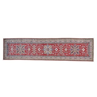 Tribal Design Pure Wool Handmade Runner Super Kazak Rug (2'7 x 10'4)