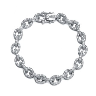 Collette Z Sterling Silver Cubic Zirconia Link Bracelet