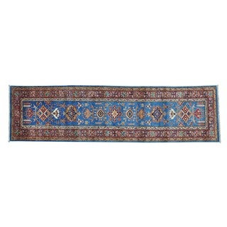 Super Kazak Geometric Design Runner Handmade Oriental Rug (2'8 x 9'10)