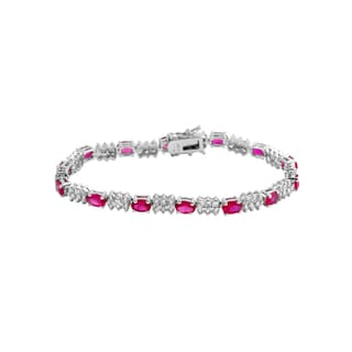 Collette Z Sterling Silver Cubic Zirconia Red Bracelet