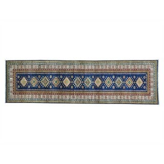 Handmade Super Kazak Runner Geometric Design Oriental Rug (2'8 x 9'4)