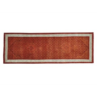 Orange Tabriz Mahi Wool and Silk Runner Handmade Oriental Rug (2'9 x 8')