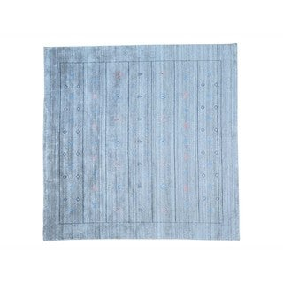 Silver Wool and Rayon from Bamboo Silk Square Loomed Gabbeh Rug (8'1 x 8'1)
