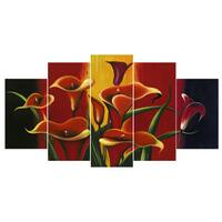 Design Art 'Red Lilies' Floral Canvas Art Print - 60x32 Inches - 5 Panels