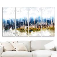 Design Art 'Abstract Blue Cityscape' Large Canvas Art Print