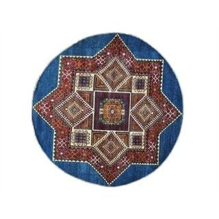 Pure Wool Round Super Kazak Hand-knotted Oriental Rug (6'8 x 6'9)